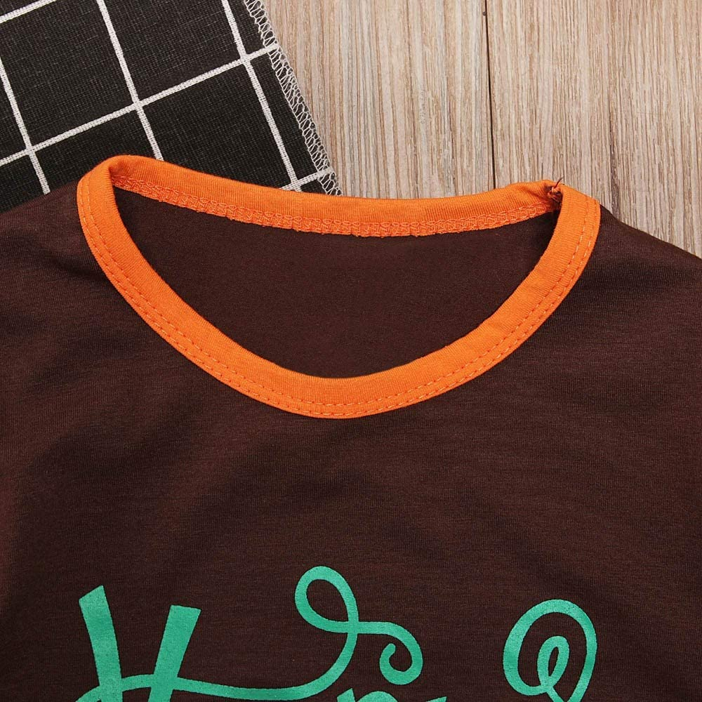 kaiCran Happy Thanksgiving Toddler Baby Girl Outfits Clothes Sets Long Sleeve Letter Print Tops and Pants