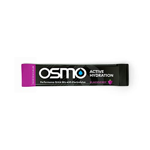 OSMO Nutrition – Active Hydration – During-Exercise Hydration Powdered Drink Mix – Fastest Way to Rehydrate – Improves Power Output Endurance – BlackBerry – 24 Single Servings