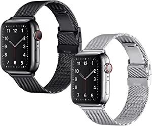 Bestig Compatible with Apple Watch Band 44mm 42mm 40mm 38mm,2 Pack Stainless Steel Milanese Mesh Metal Bands for iWatch Series 6/5/4/3/2/1 SE Men Women(Black+Silver,42mm 44mm)