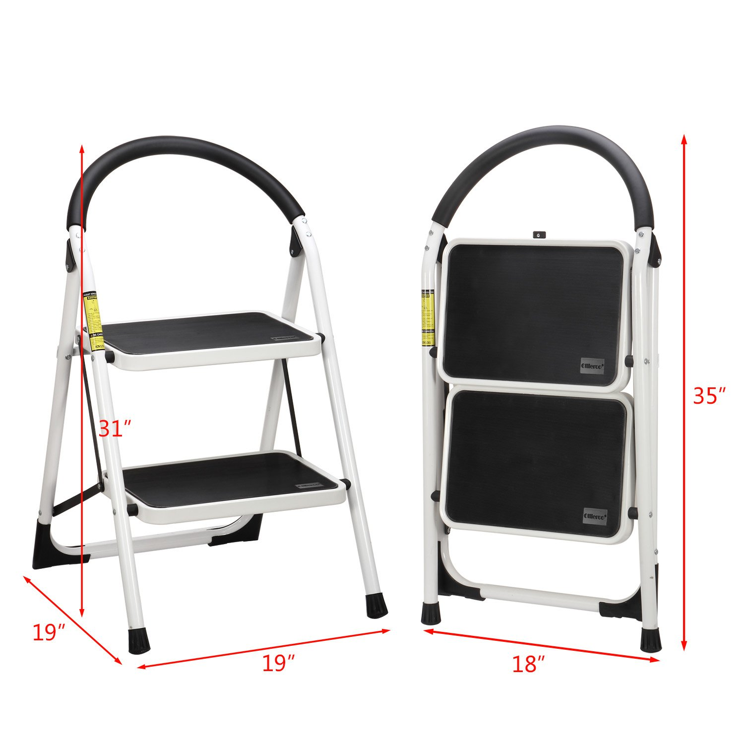 Ollieroo Step Stool EN131 Steel Folding 2 Step Ladder with Comfy Grip Handle Anti-slip Step Mon-marring Feet 330-pound Capacity White by Ollieroo (Image #5)