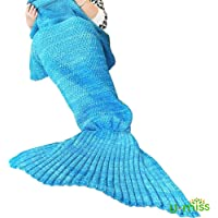 U-MISS Mermaid Tail Blanket Handcraft for Adults & Kids, Warm and Soft Sofa Crochet Blanket Bag Knitting Pattern Cute Mermaid Gift in Living Room or Camping(75 * 35 inch, Blue)
