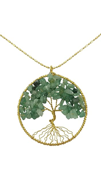 Amazon dew drops simulated green aventurine pendant tree of dew drops simulated green aventurine pendant tree of life brass long necklace gemstone jewelry aloadofball Choice Image