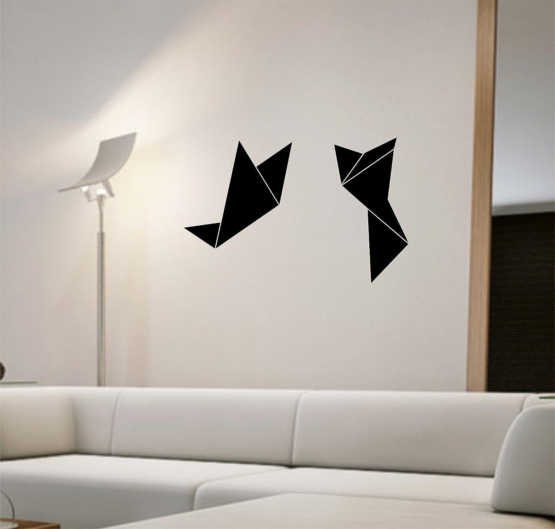 Diseño de pájaros Origami adhesivo decorativo para pared con diseño de vinilo decorativo para siempre diseño con texto en inglés Love LME ver de vinilo.: Amazon.es: Hogar