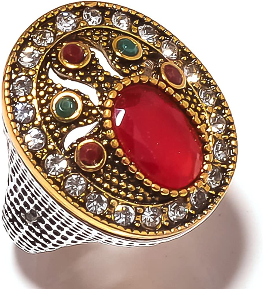 Handmade Exotic Turkish Style Dyed Ruby /& Emerald Silver Plated-Brass Ring Multi-Size In US