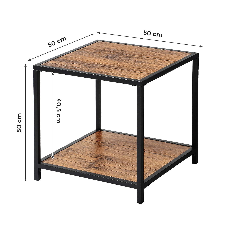 W/ürfelform Nachttisch Industrie Design Wohnzimmer VASAGLE Beistelltisch Vintage LET50BM Flur Eisengestell Sofatisch mit Ablage Schlafzimmer B/üro einfacher Aufbau Holzoptik