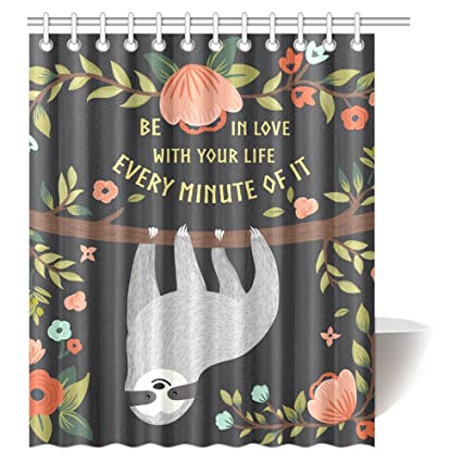 Amazon Interestprint Funny Sloth Shower Curtain Cute Animal