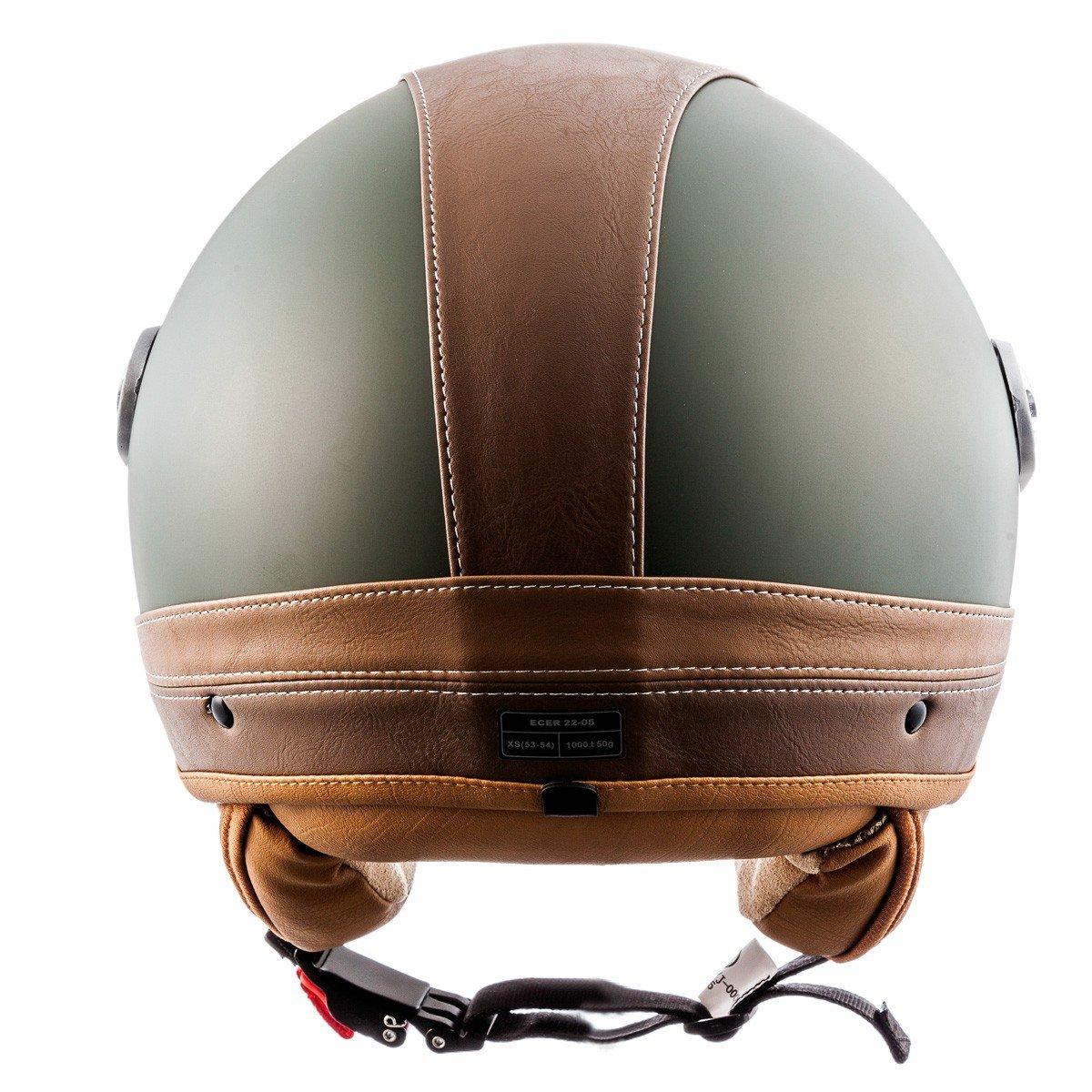 SOXON SP-325-URBAN Red /· Vespa Chopper Mofa Vintage Biker Urbano Motard Casco Demi-Jet Urban Bobber Piloto Moto Cruiser Scooter Retro /· ECE certificato /· design in pelle /· compresi visiera /· compresi Sacchetto portacasco
