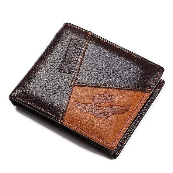 20ec47058 Billetera de Cuero para Hombre Tipo Wallet o Tarjetero, Cartera de Piel  Delgada, Café