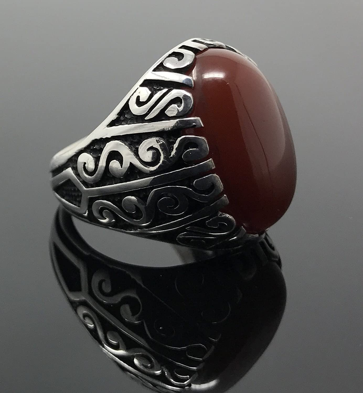 KAR 925K Stamped Sterling Silver Red Agate Aqeeq Mens Filigree Ring K53A