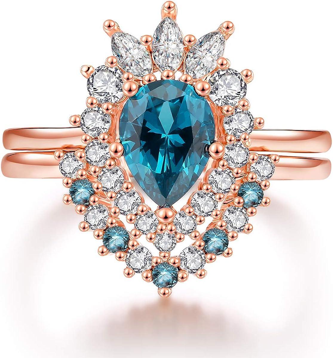 JIANGYUE 18K Rose Gold Pear Shape Mint Green Princess Crown Rings for Women Promise Wedding Bands Cubic Zirconia Gemstone Bridal Rings Set Size 5-10 (Green)
