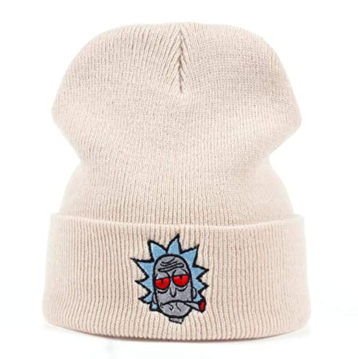 889a4fea Rick Hats Smoking Elastic Embroidery Morty Beanie Cap Warm Knitted Hat  Winter Skullies Animation Ski Red Eyes at Amazon Women's Clothing store: