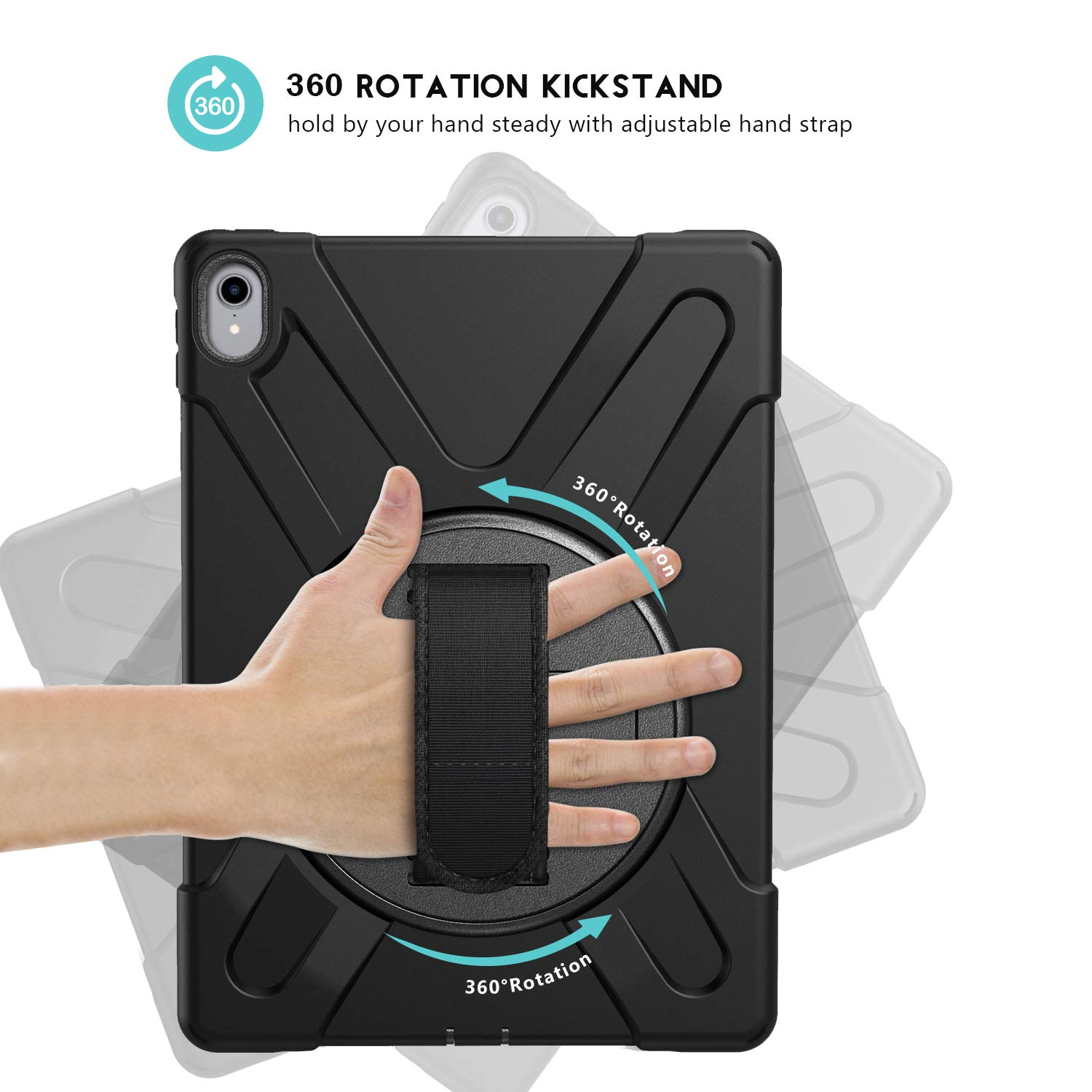 3 in 1 Heavy Duty Shockproof Rugged Case for Apple iPad Pro 11 Inch 2018 Release Black ProCase iPad Pro 11 Case with Handle 360 Degree Rotatable Kickstand Cover with Adjustable Hand Shoulder Strap