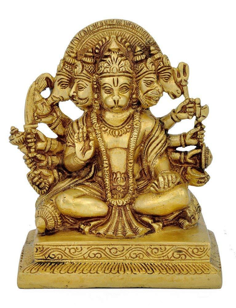 Red Bag Brass Panch Mukhi Hanuman Idol, Standard, Gold