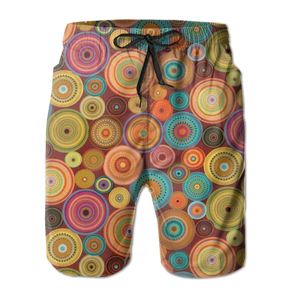 JDHFAF Colored Dots Mens Beach Board Shorts Quick Dry Summer Casual Swimming Soft Fabric with Pocket