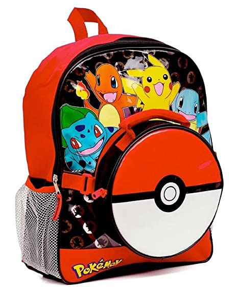 ee533ae86b67 Pokemon Large Backpack and Pokeball Insulated Lunchbox Lunch Bag (Colors  may vary)  Amazon.co.uk  Kitchen   Home