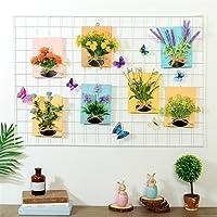 DIY ferro griglia foto parete multifunzione Pannello griglia Foto Clip Ins Art Display Photo muro parete foto Wall Art Display & Organizer(65x45cm) (bianco)