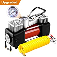 Audew Tyre Inflator Portable Air Compressor Pump, Tire Inflator, Heavy Duty Double Cylinder Air Pump,150PSI,Double Cylinder For Car/Sedan/Motor/Bicycle/Truck