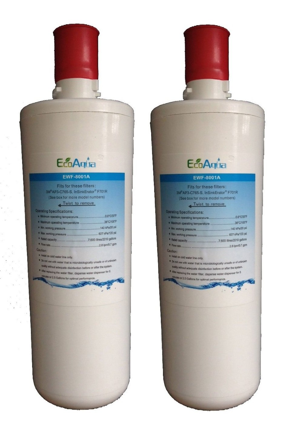 EWF-8001A EcoAqua Under Sink Water Filter Replacement for 3M AP3-C765 (2-Pack) by EcoAqua