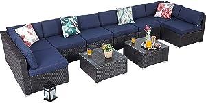 PHI VILLA Outdoor Rattan Sectional Sofa- Patio Wicker Furniture Set (10-Piece, Blue)