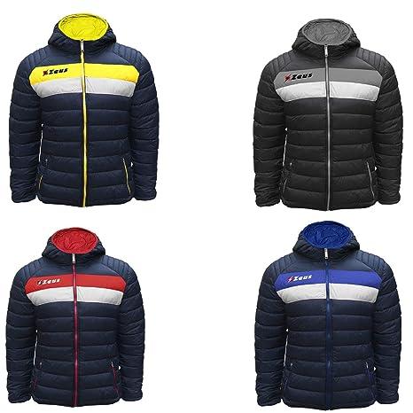 409fc263043e4 Zeus Giubbotto Pegaso Inverno Cappuccio Sport Calcio Palestra Winter Relax  Giacca Pegashop (Blu-Giallo