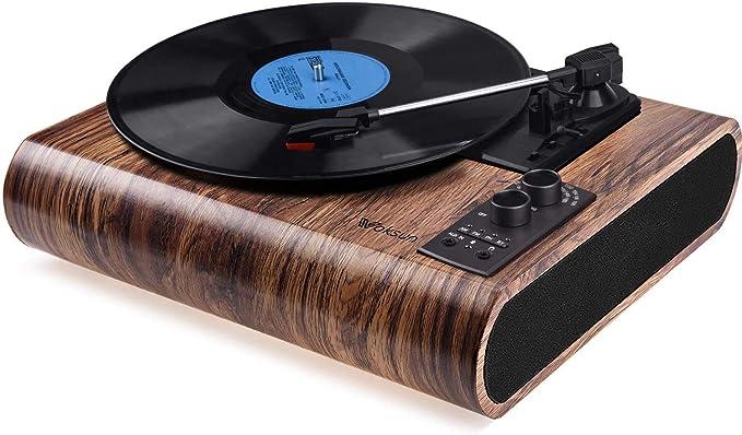 Cinch /& USB Ausgang // AUX-In // Kopfh/öreranschluss Koffer Design Braun AETKFO Bluetooth Plattenspieler 3-Gang Vinyl Plattenspieler mit Lautsprecher Plattenspieler Unterst/ützung Aufnahme Vinyl