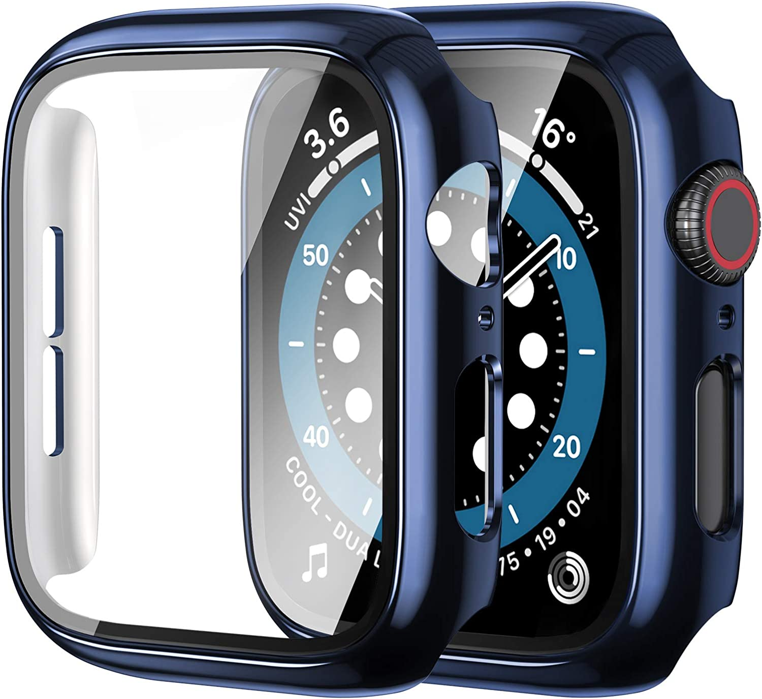 [2 Pack] Anwaut Case with Screen Protector for Apple Watch Series 6/SE/5/4 44mm,Full Defense Coverage with Tempered Glass Cover Accessories for iWatch 44mm Women Men Blue