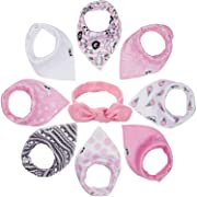 Baby Bandana Drool Bibs for Girls - 8 Infant Bibs Set for Teething, Drooling with Extra Soft Cotton To Avoid Drool Rashes - Thick and Absorbent Adjustable Bibs