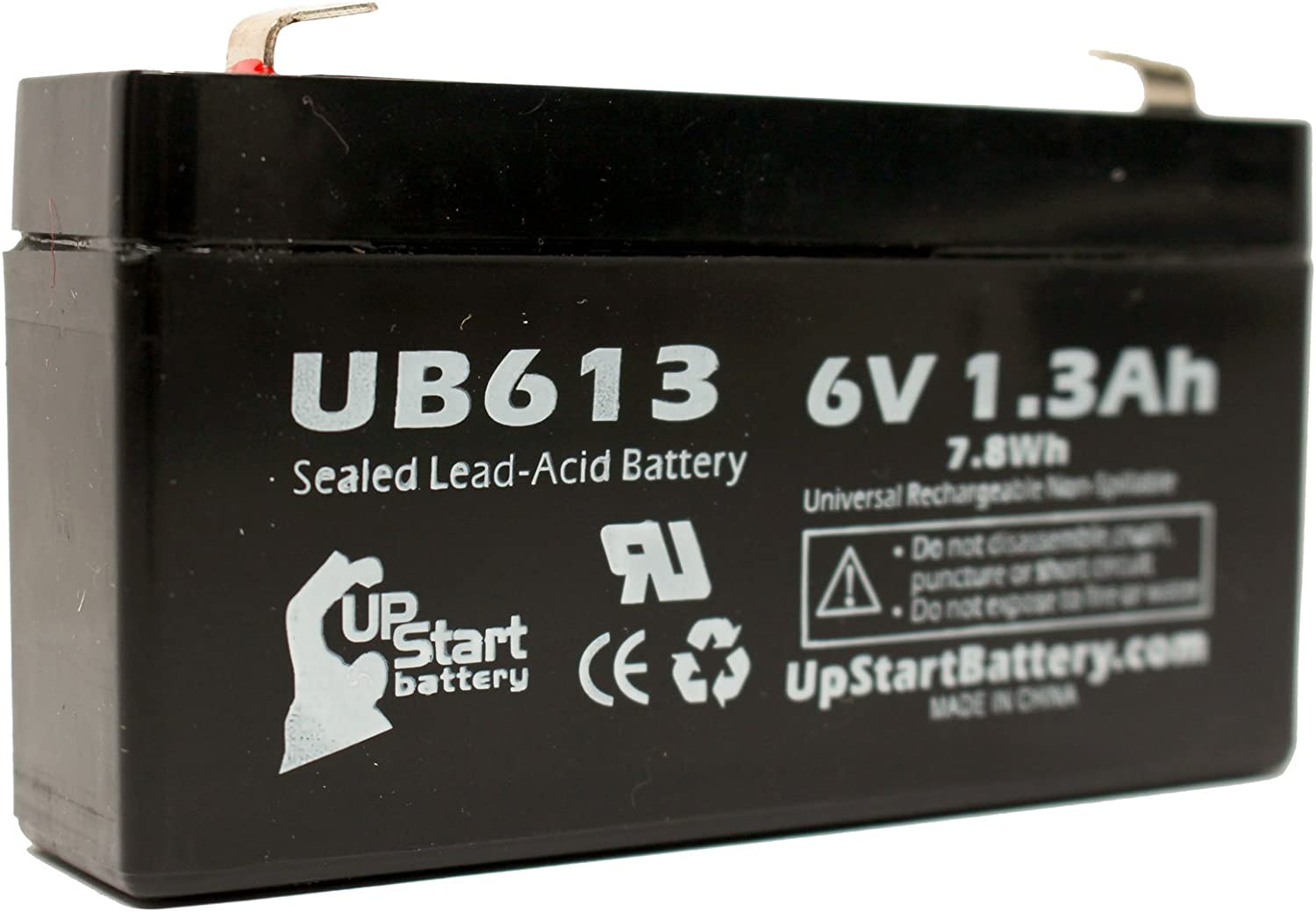 6V, 1.3Ah, 1300mAh, F1 Terminal, AGM, SLA UB613 Universal Sealed Lead Acid Battery Exitronix Ex6v1.2a Compatible with NORTH SUPPLY 782322 Lintronics Lcr6v1 Casil//Chee Yuen Industrial Ca613 Lichpower Djw6-12 - Includes TWO F1 to F2 Terminal Adapters