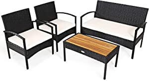 Tangkula 4 Pieces Patio Rattan Furniture Set, Outdoor Conversation Set w/Chair & Loveseat & Solid Acacia Wood Coffee Table, High Resilience Sponge, Stable Frame, Ideal for Garden, Backyard, Poolside