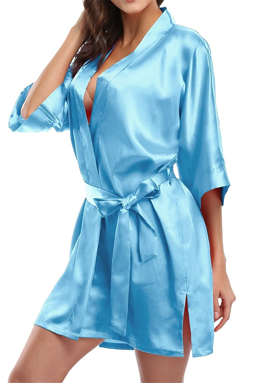 Giova Pure Color Satin Short Silky Bathrobe Sleepwear Nightgown Pajama GV-SatinShortRobe-NavyNew-S