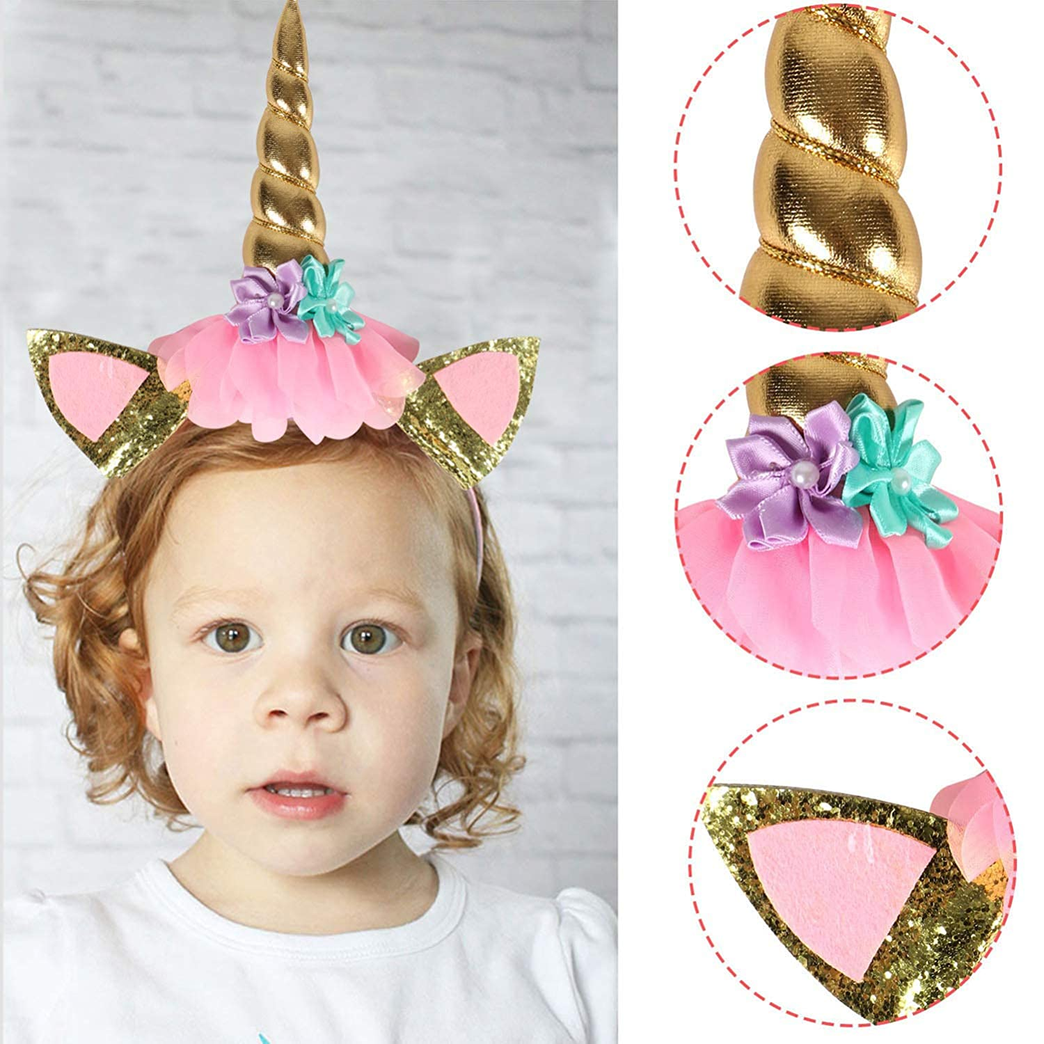 Killow Unicorno Decorazioni Torte Unicorno Toppers Torta Cake Topper+ Compleanno Accessori Cerchietto+48pcs Cupcake Topper Double Sided Decorazioni per Feste di Compleanno Baby Shower