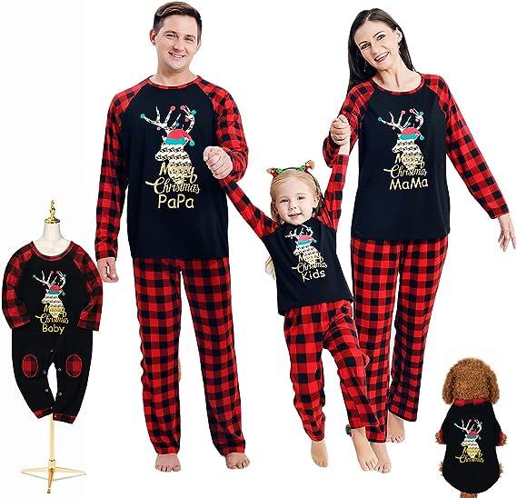 Tianhaik Ensemble De Pyjama De Noël Assorti Pour La Famille Vêtements De Nuit Pour Les Couples Pyjama De Noël Parent Enfant Amazon Ca Vêtements Et Accessoires