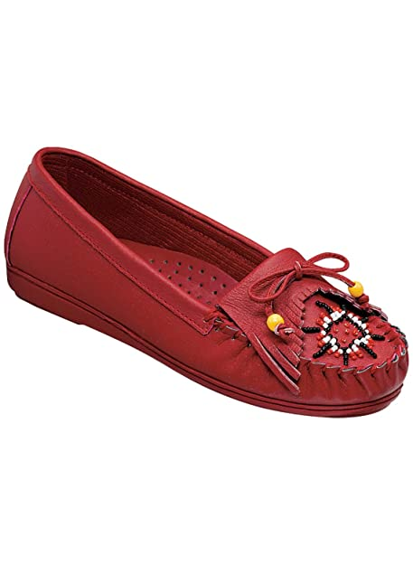 Genuine Leather Beaded Moccasins, Red, Size 6 (Medium)