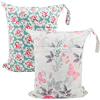 ALVABABY 2pcs Travel Wet and Dry Cloth Diapers Wet Bags Waterproof Reusable with Two Zippered Pockets L5166-AU
