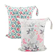 ALVABABY 2pcs Cloth Diaper Wet/Dry Bags  Waterproof Reusable with Two Zippered Pockets Travel, Beach, Pool, Daycare, Soiled Baby Items,Yoga,Gym Bag for Swimsuits or Wet Clothes L5166