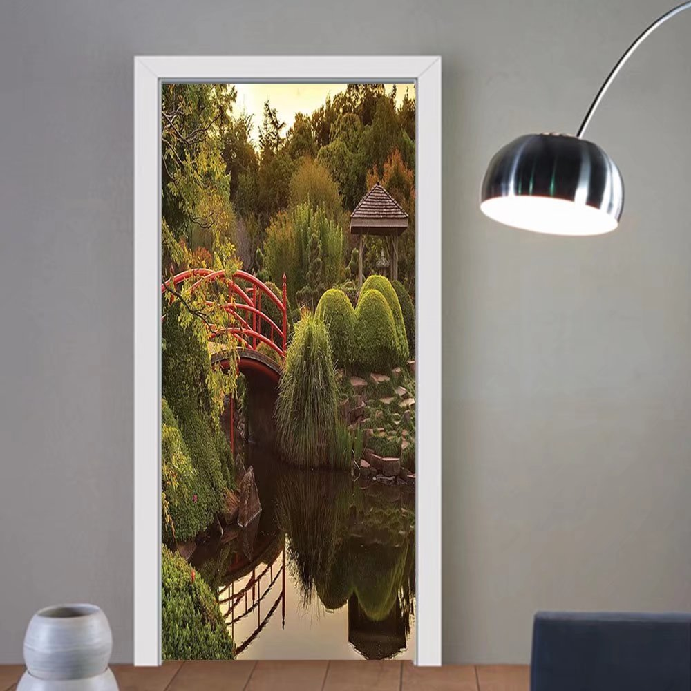 Gzhihine custom made 3d door stickers Japanese Decor Peaceful Garden In Twilight With Reflections In The Water Red Bridge On Pond Sunset Decor Green Yellow For Room Decor 30x79