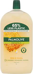 Palmolive Naturals Liquid Hand Wash Soap Milk and Honey with Moisturising Milk Refill and Save 0 percentage Parabens Recyclable, 1L