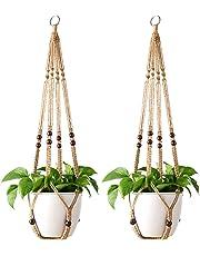 Mkono Macrame Plant Hanger Indoor Outdoor Hanging Planter Basket Cotton Rope with Beads