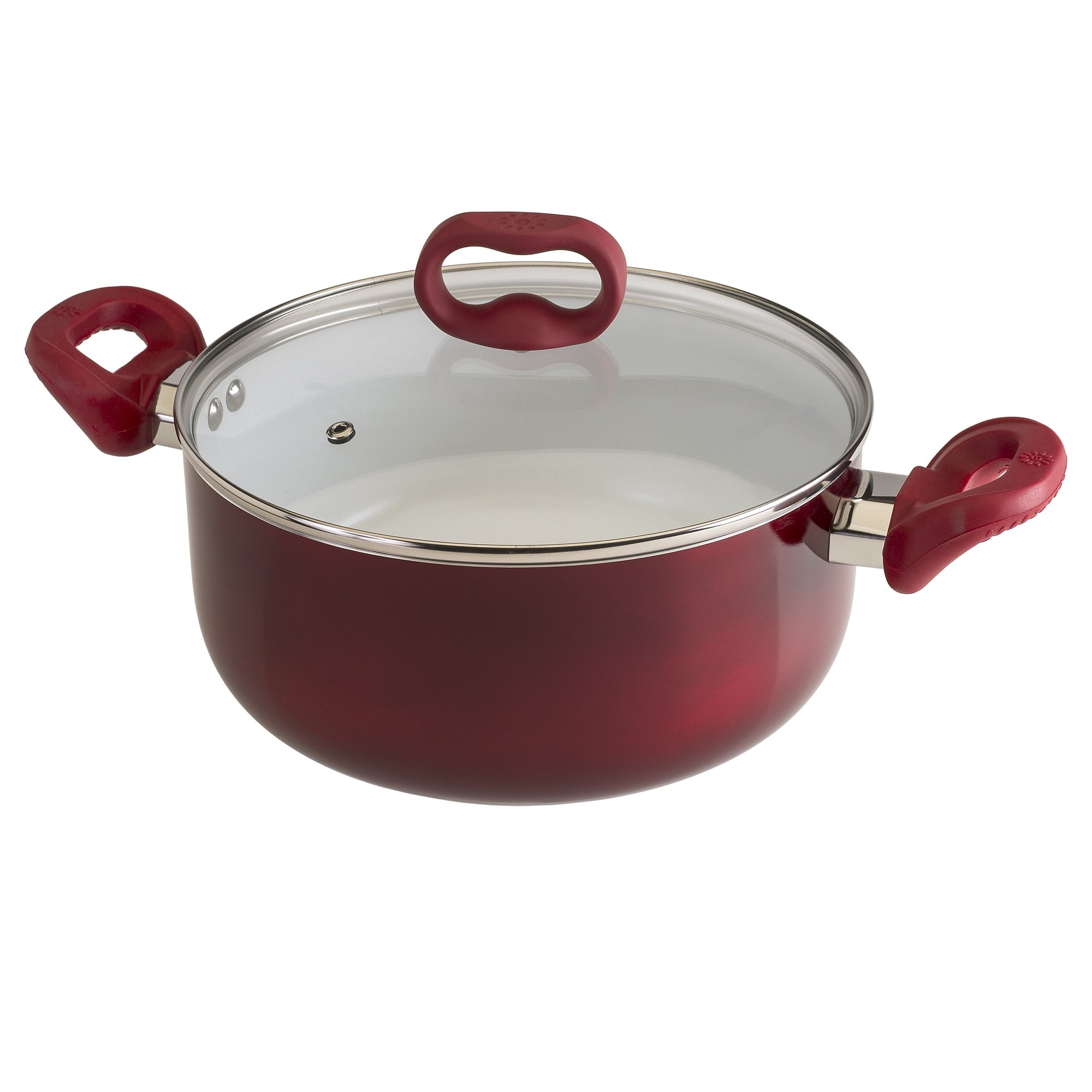 Ecolution Bliss 5 Qt. Non-Stick Dutch Oven W/Tempered Glass Lid with Steam Vent - PFOA, PTFE & Lead Free, , Candy Apple Exterior / White Interior