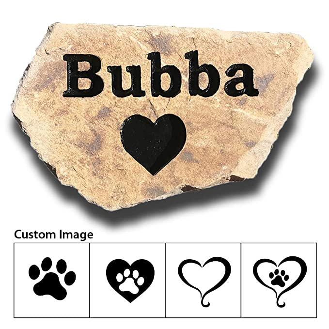 Accent Direct Personalized Pet Memorial Stone, Custom Engraved Natural Stone, Grave Marker, Garden Stone, Desk or Shelf, Indoor or Outdoor