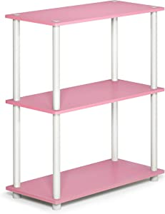 FURINNO 10024PI/WH Turn-N-Tube Display Rack, 3-Tier Single, Pink/White