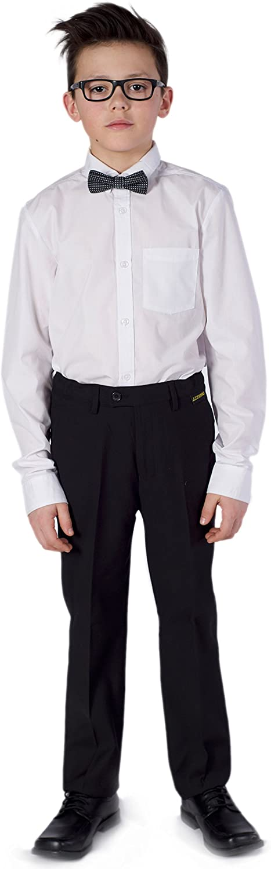 Azzurro Boys Flat Front Adjustable Waist Dress Pants in Reg Slim and Husky Fit