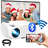 """WiFi Mini Projector, 2020 Upgraded 4500 Lux Portable Bluetooth Video Projector, Support 1080P HD 200"""" Screen for Home & Outdo"""
