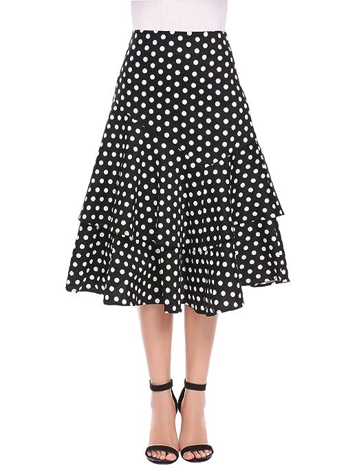 Saloon Girl Costume | Victorian Burlesque Dresses & History Zeagoo Womens High Waist Polka Dot A-line Ruffle Midi Skirt with Decor Belt $29.00 AT vintagedancer.com