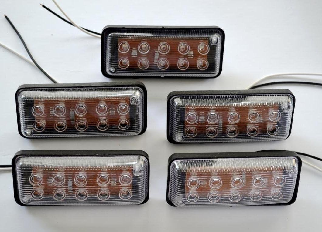 5x 24V 10 LED front side marker white lights for truck trailer chassis caravan camper motorhome