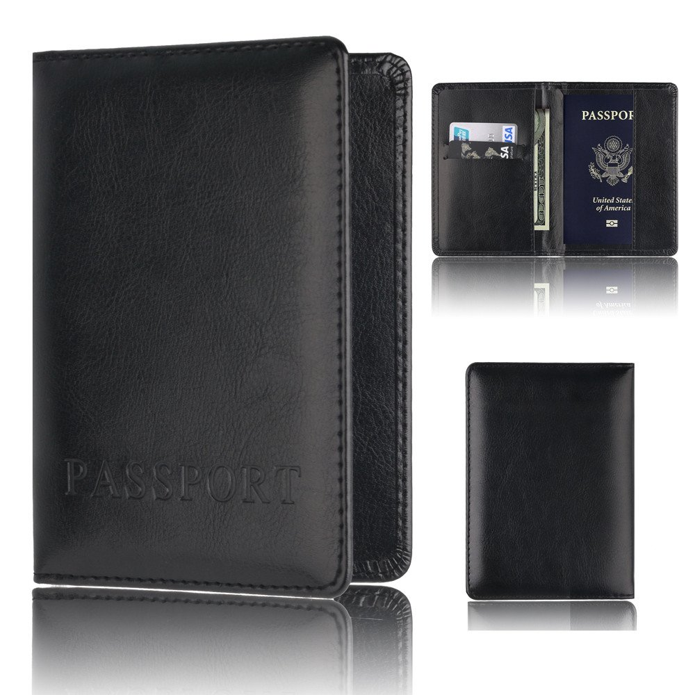 Wffo Passport Holder Protector Wallet Business Card Soft Passport Cover (Black)