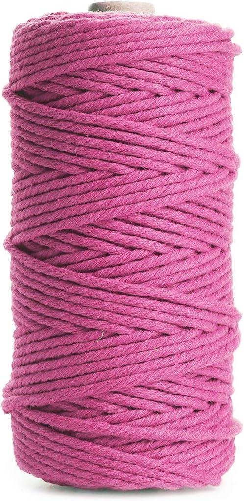 Binwat - Hilo de algodón natural para macramé. Para hacer manualidades, colgar cosas en la pared, colgar plantas, tejer, proyectos decorativos, etc. (3 mm, 100 m), rosa, 3mm x100m: Amazon.es: Hogar