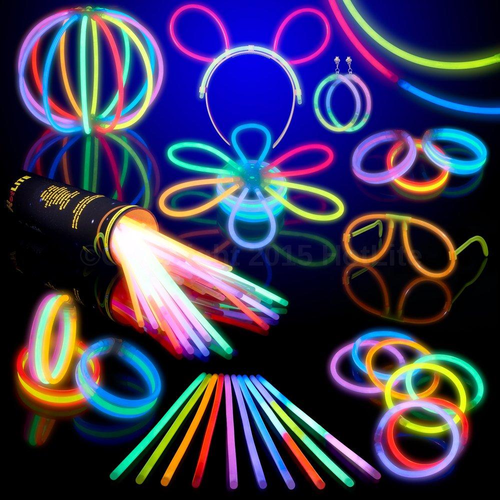 100 Glow Stick Party Pack- 8 HotLite Premium bracelets,necklaces, kits to create glasses, triple bracelets, a headband, earrings, flowers, a glow ball & more!
