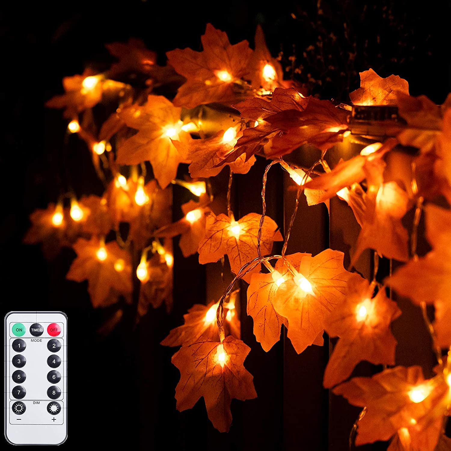 JIELIELE 2PACK Thanksgiving Maple Leaves Lights, 40 LEDs Fairy Light with Remote, Thanksgiving Lights for Thanksgiving, Home, Turkey Decorations Outdoor Indoor Fall Decor