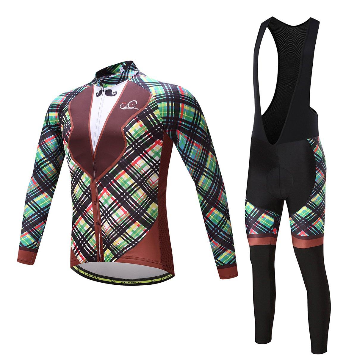 Cycearth Cycling Jersey Long Sleeve Set Men Winter Fleece Thermal Jackets Black Bib Pant (Ce603a, XXL) by Cycearth